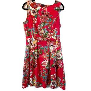 Adrianna Papell Floral Belted Fit and Flare Dress